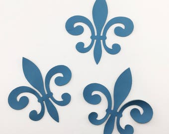 Blue Fleur de Lis Leather Die Cut applique cut outs for craft project / card making or embellishment. Sold individually or in multiples.