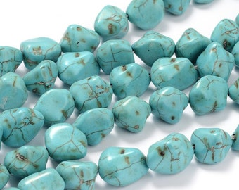 Chunky Howlite Nuggets - Turquoise - Sold per strand - #TURQ264