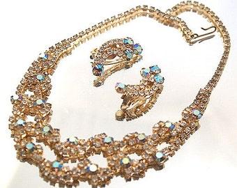 Aurora Borealis Demi Parure Choker Necklace Earring Set Gold Tone Prong Set Stones Wedding Bridal Formal