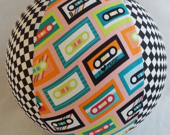 Balloon Ball - Fun Retro cassette mix tape fabric  - As seen with Michelle Obama on Parenting.com