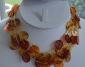 On sale Pretty Vintage Amber, Tortoise Shell colored Plastic Beaded Necklace, Adjustable, (AO13)