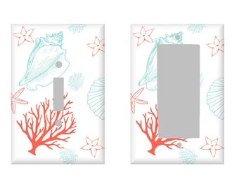 Ocean Light Switch Cover / Coral Seafoam Shells / Beach Cottage Decor / Single Toggle Switch / Nautical Bathroom / Electrical Outlet /Rocker