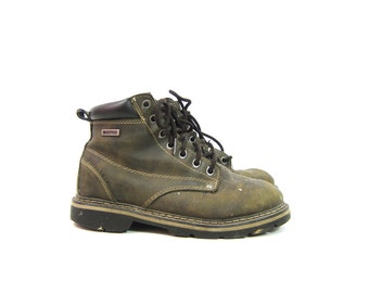 Vintage Work Boots Faux Leather Distressed Lace Up DEXTER Ankle Boots Farmer WorkWear Heavy Duty Chore Boots Mens Size 7 Women's 8.5