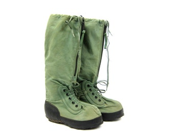 Green Canvas Extreme Cold Weather Boots Mens Army Military Work Boots Tall Lace Up Punk Rock Goth GRUNGE N 1B Men's Medium
