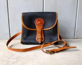 Authentic Vintage Dooney & Bourke Blue Brown Pebbled Leather Purse Cross Body Purse Satchel Bag 90s Preppy Leather Purse DES