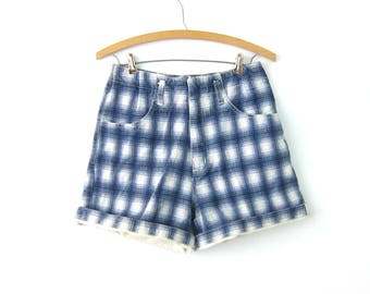 90s Blue & White PLAID Jean Shorts High Waist Denim Shorts Roll Up Cuffs Hipster Indie High Rise MOM Jeans Shorts Womens Size Medium 11/12