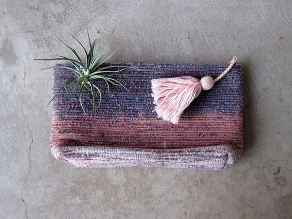 Woven Pink Purple Clutch Vintage Ombre Cotton Handbag Purse Womens Make Up Bag Zipper Pouch Bag with Tassel Boho Hippie Bag Travel Bag