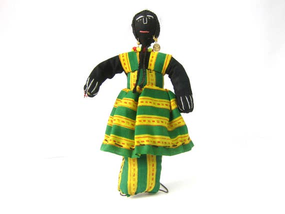 Black Cloth Doll on Wire Stand Green & Yellow Ethnic Dress Vintage Doll Display Estate Sale