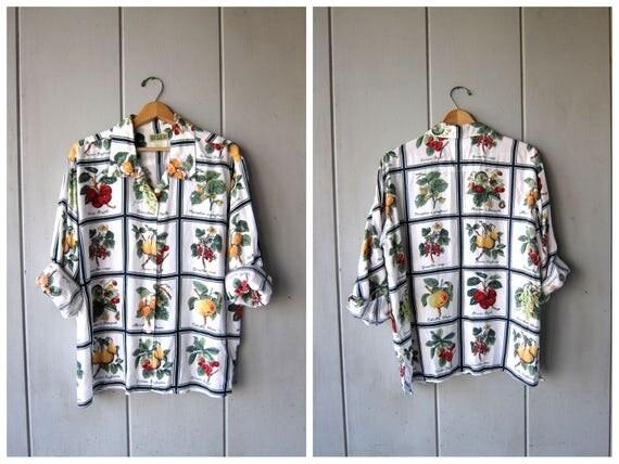 Vintage FRUIT Print Blouse 90s ESPRIT Button Up Shirt French Names Flower Bush Tree Print Top 1990s Long Sleeve Top DES Womens Large