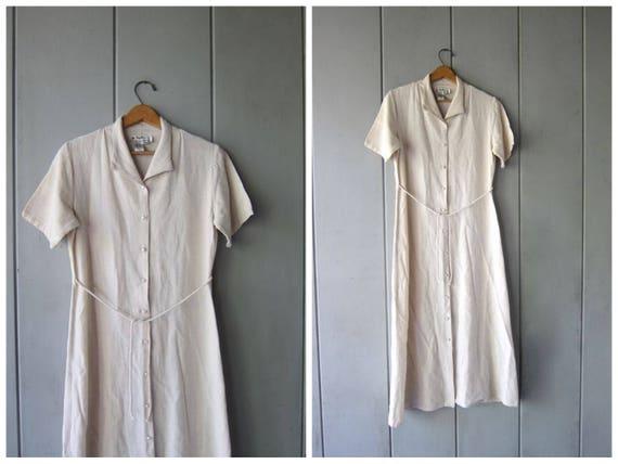 Long Natural Linen & Rayon Dress 90s Minimal Buttons Up Front Midi Dress Classic Collared Shirt Dress Preppy Beige Dress Women's Medium