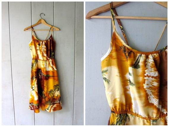 70s HAWAIIAN Sun Dress Vintage Orange Brown Volcano Sailboat BOHO Dress High Waist Retro SunDress Midi Sleeveless Dress Womens Medium