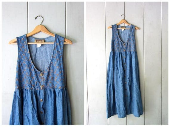 Long Blue Jean Dress Floral Embroidered Denim Dress Vintage Boho Denim Frock Empire Waist Dress Hipster Button Down Sun Dress Womes Medium