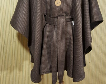 Diagonal pinstripe wool cape with belt