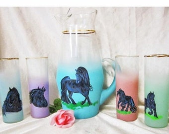 Fresian  hand painted Blendo  vintage frosted  glass