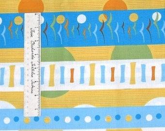 Modern Fabric - Andover Flock Thomas Knauer Mod Stripe Blue Yellow Green /Yd