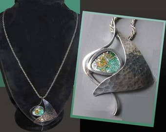 ANCIENT Roman Glass Modernist Hammered Sterling Silver Pendant,S. ZILKA Israel,Aged Iridescent Glass Pendant/Long Cabled ChainJewelry,Women