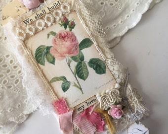 Rose Lace Tag, Mixed Media Art Tag, French Gift Tag