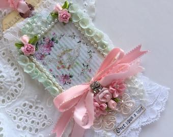 French Gift Tag, Shabby Tag, Mixed Media Tag, Lace Gift Tag, Vintage Wedding Tag