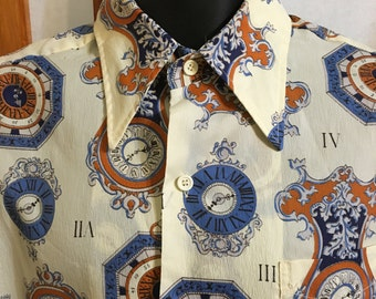 VTG 70s Clock print shirt by Spire mens size large