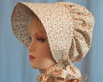 Sun Bonnet - Pioneer Costume - Cotton Floral Spice Print - Frontier SASS - Trek Bonnet - Ladies Size