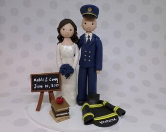 Unique Cake Toppers - Firefighter & Teacher Custom Wedding Cake Topper