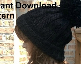 Instant Download, Knit Hat Pattern, Knit Hat, Knit Beanie Pattern, Knit Beanie, Pom-Pom Hat Pattern, Cable Beanie, Beanie Hat
