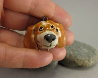 Bobby Sunshine...OOAK Miniature Dog Bust / Pendant in Stoneware