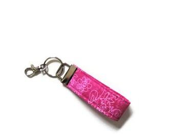 Pink Swivel Key Fob, Key Chain, Wristlet, Key Fobs, Bridal Shower Favors, Swivel key chain, Key Ring Keychains, Key Wrist Strap, Wrist Strap