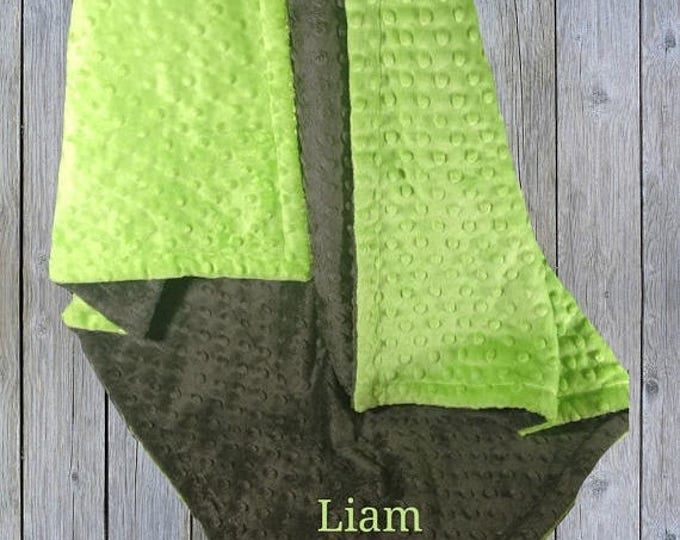 Photoprop CLEARANCE Green and Dark Slate Gray Minky Baby Blanket - Lime Green and Gray Blanket,