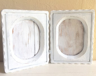 farmhouse style rustic distressed white wood double 5x7 picture frame folding wooden shabby chic