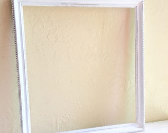 Rare 10x11 inch Shabby Chic White Wooden Picture Frame Wood Gold Showing