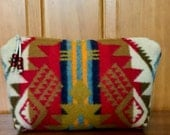Cosmetic Bag / Makeup Bag / Zippered Pouch Large Wool Southwestern Tribal Geometric Handcrafted Using Pendleton Woolen Mills Fabric