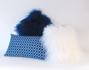 Mongolian Fur Pillow ~Blue Fur Pillow ~ Genuine Mongolian Lamb ~ Royal Blue Mongolian Pillow ~ Navy Blue Fur ~ Mongolian Lumbar Pillow