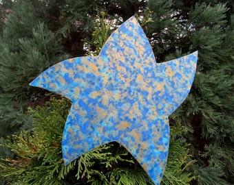 Star Tree Topper Christmas Metal Art Sculpture Recycled  Metal Tree Art Holiday Decor Aqua Gold Blue Metallic Tree Ornament 10 x 10