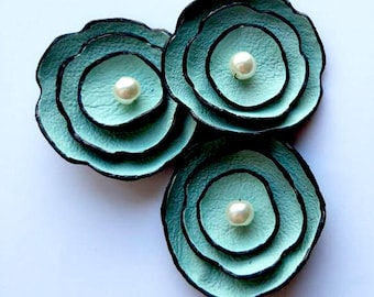 Jewelry supplies leather petals flowers for pendants, necklaces, brooches, shoes clips etc Handmade supplies