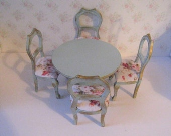 Dollhouse table, round table, four  chairs, Dining set,  duck egg blue table, roses seats, pedestal table, , twelfth scale miniature
