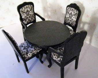 Dollhouse table, four chairs, round table, Rectangular country table, Black, elegant black table,, twelfth scale, dollhouse miniature
