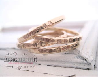 Stackable Stacking Ring . Personalized . Gold Filled Stacking Ring . Hand Stamped . Hammered . Brag About It . Teeny Tiny Brag Band