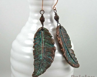 Copper Patina Feather Earrings, rustic polymer clay dangles on copper wires