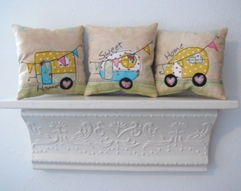 Retro Camper, Happy Camper Pillows, Accent Pillows, Throw Pillow, Nursery Decor, Spring Summer Pillow, Decor for Camper, Gift for Retirement