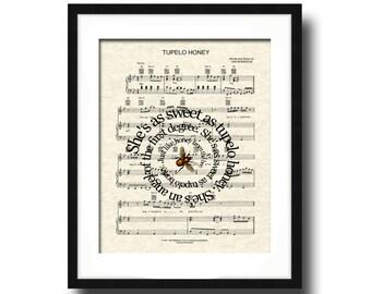 Tupelo Honey Song Lyric Sheet Music Art Pirnt, Van Morrison's Tupelo Honey, Song Lyrics Art, Sheet Music Art, Music Art, Spiral Lyric Art