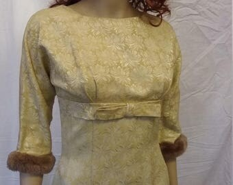 Vintage Wiggle Coctail Dress Brocade with Fur Trim