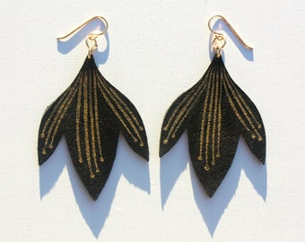 Hand Painted Leather Earrings - Bali Bloom - Black Suede with 14k Gold-Fill