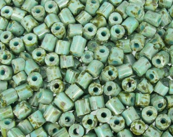 5mm Opaque African Turquoise Picasso Czech Glass Tile Beads 20 Grams (CS298) SE