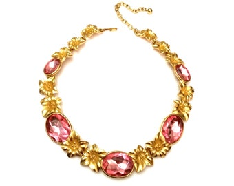 Trifari Kunio Matsumoto Necklace, Brushed Gold Tone Floral Necklace, Pink Lucite Crystals & Gold Necklace, Vintage Designer Trifari Necklace