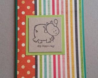 Spots & candy stripes - Hippo-hooray - Birthday card