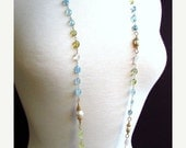 25OFF Long Shaded Aquamarine and Pearls with Gold Wire Wrapped Necklace
