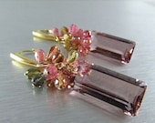 25% Off Plum Quartz With Tourmaline Cluster Gold Filled Earrings