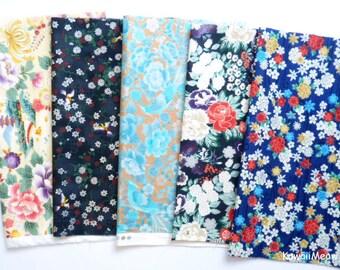 """Scrap / QUILT GATE - Kimono Print 5 pieces 26 cm x 30 cm ( 10"""" x 11.8"""" ) (883)"""