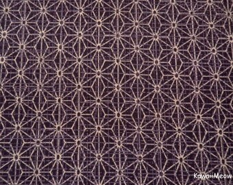 """Scrap / Kimono Fabric - Asanoha Purple - 110cm/43""""W x 54cm/20""""L"""